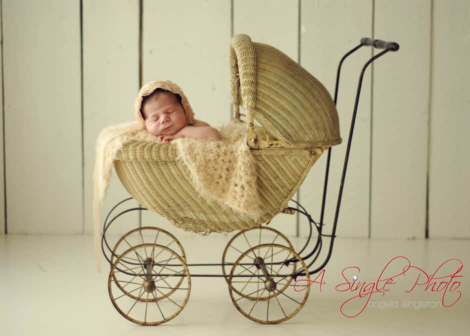 newborn girl in pram